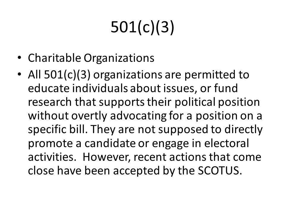 501(c)(3) Charitable Organizations