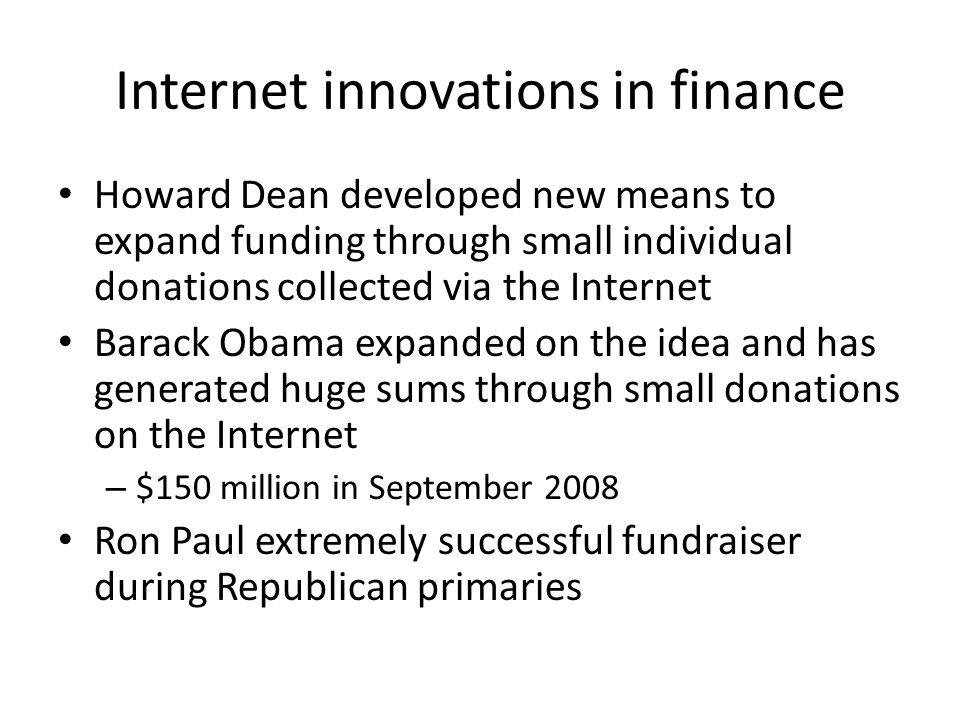 Internet innovations in finance