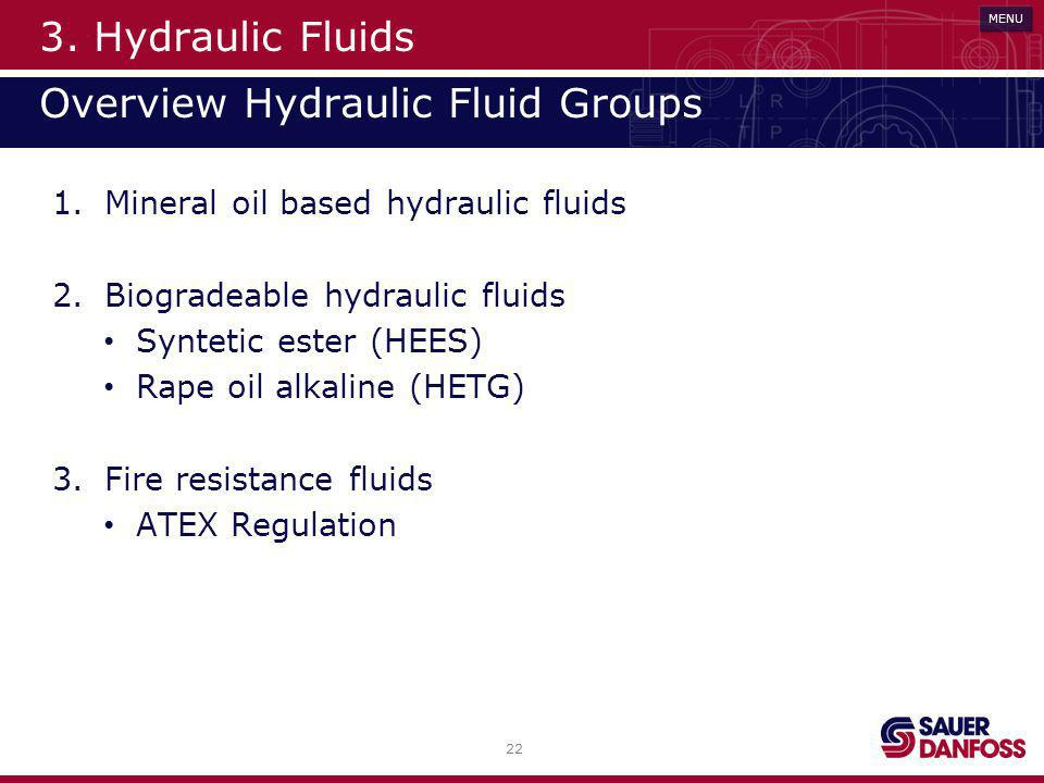 3. Hydraulic Fluids Overview Hydraulic Fluid Groups