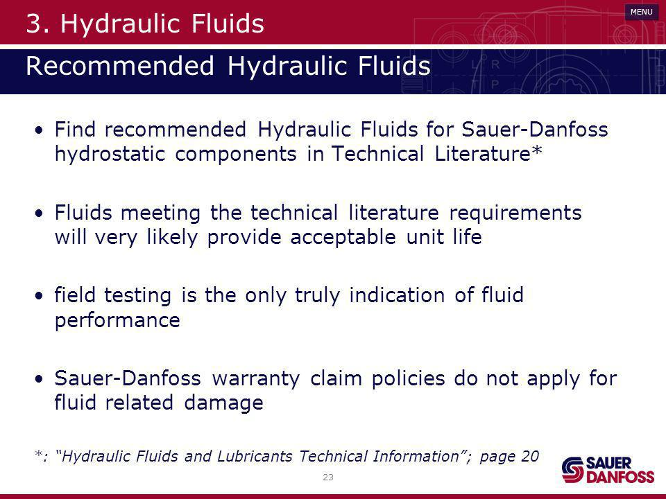 3. Hydraulic Fluids Recommended Hydraulic Fluids