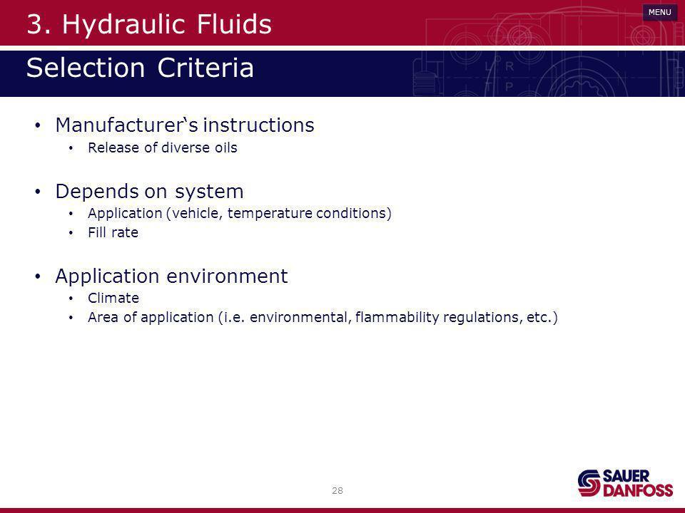 3. Hydraulic Fluids Selection Criteria