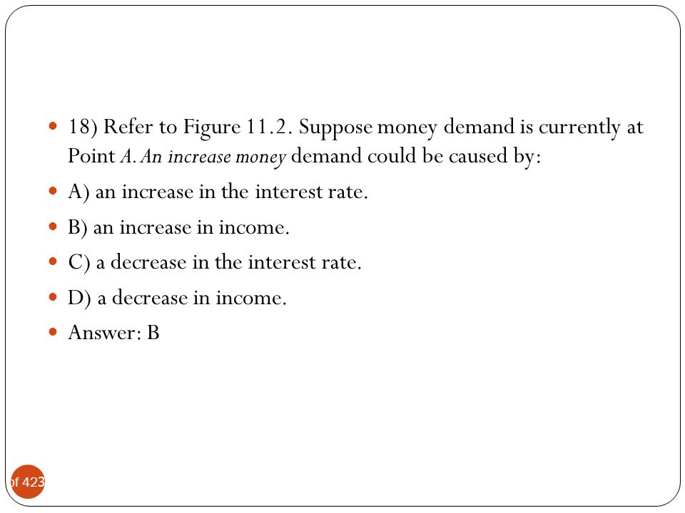 18) Refer to Figure Suppose money demand is currently at Point A. An increase money demand could be caused by: