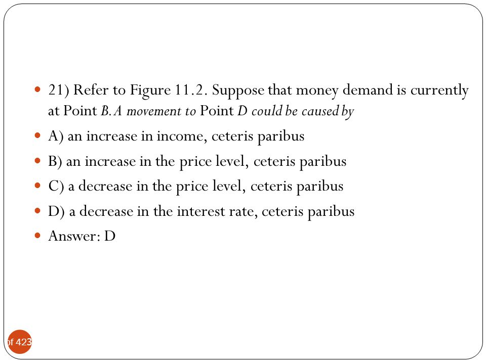 21) Refer to Figure 11.2. Suppose that money demand is currently at Point B. A movement to Point D could be caused by