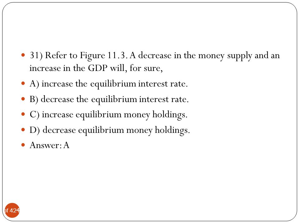 31) Refer to Figure 11.3. A decrease in the money supply and an increase in the GDP will, for sure,