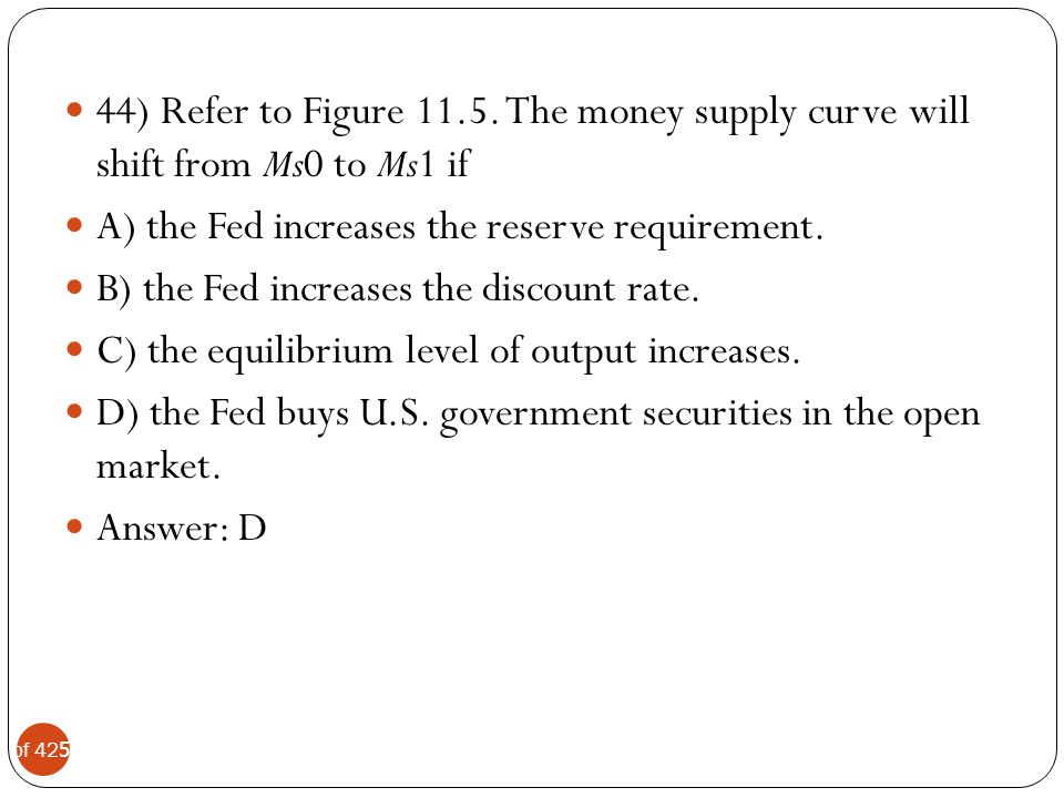 44) Refer to Figure 11.5. The money supply curve will shift from Ms0 to Ms1 if