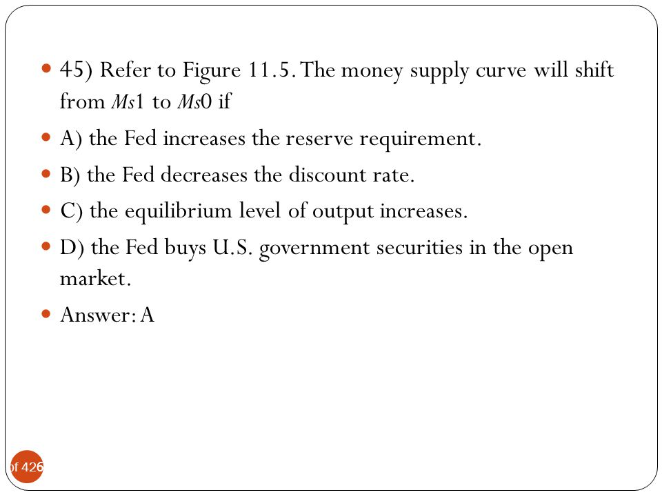 45) Refer to Figure 11.5. The money supply curve will shift from Ms1 to Ms0 if