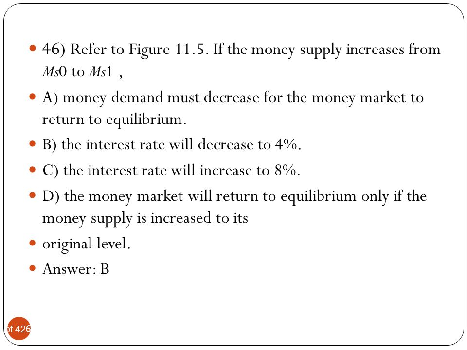 46) Refer to Figure If the money supply increases from Ms0 to Ms1 ,