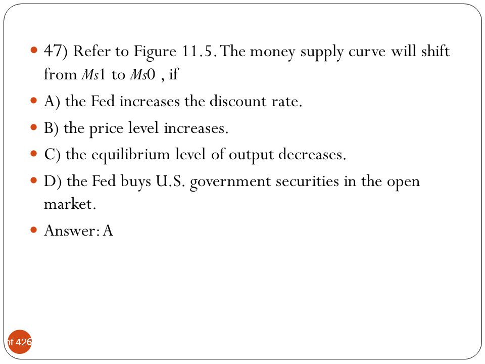 47) Refer to Figure 11.5. The money supply curve will shift from Ms1 to Ms0 , if