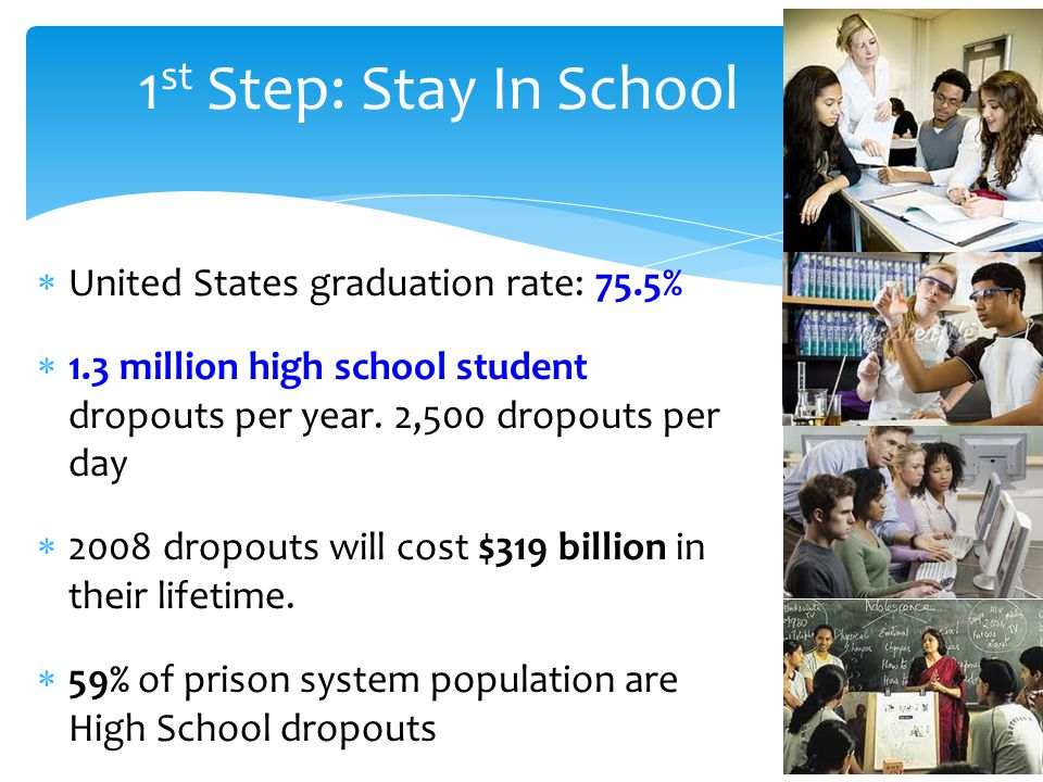 1st Step: Stay In School United States graduation rate: 75.5%