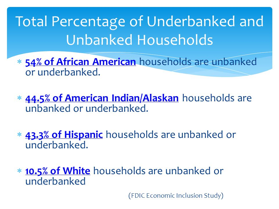 Total Percentage of Underbanked and Unbanked Households