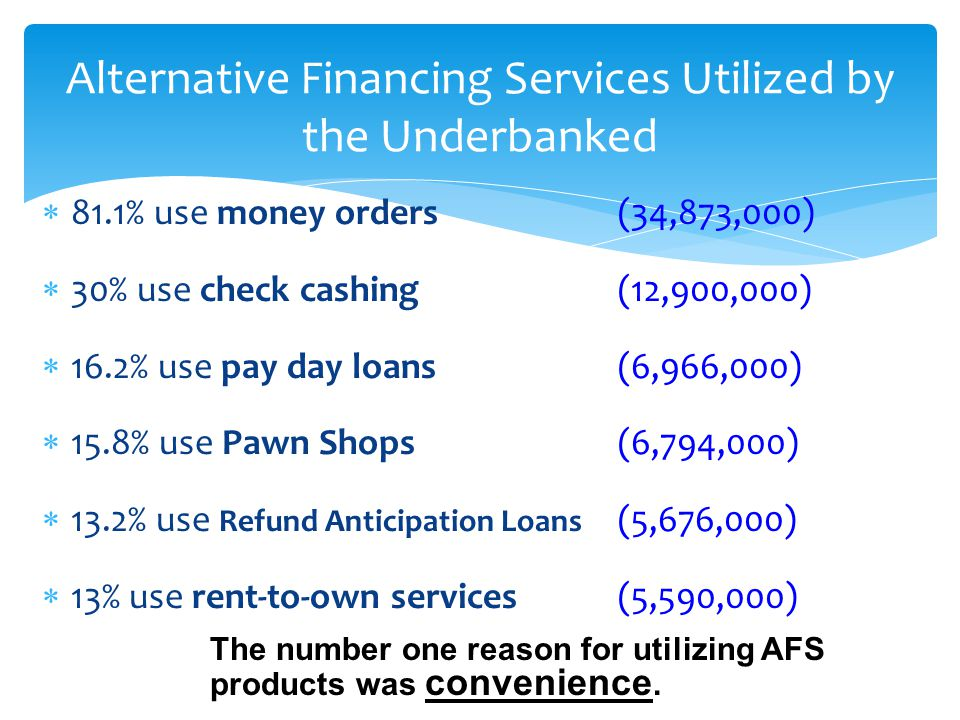 Alternative Financing Services Utilized by the Underbanked