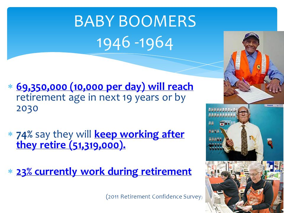 BABY BOOMERS 1946 -1964 69,350,000 (10,000 per day) will reach retirement age in next 19 years or by 2030.