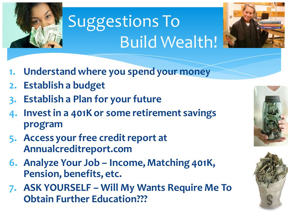 Suggestions To Build Wealth!