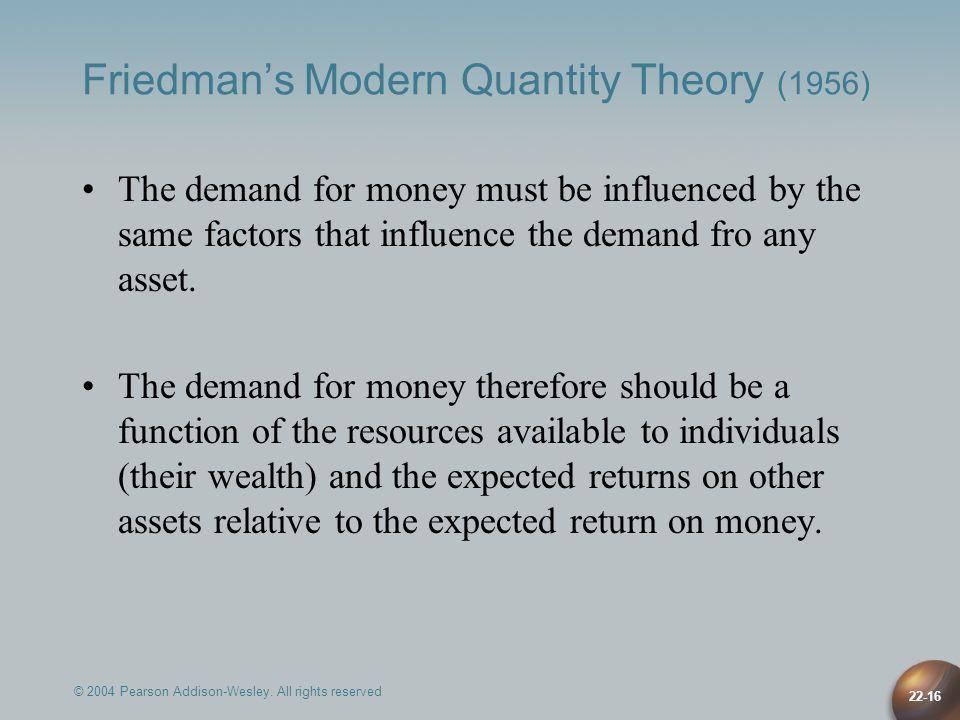 Friedman's Modern Quantity Theory (1956)