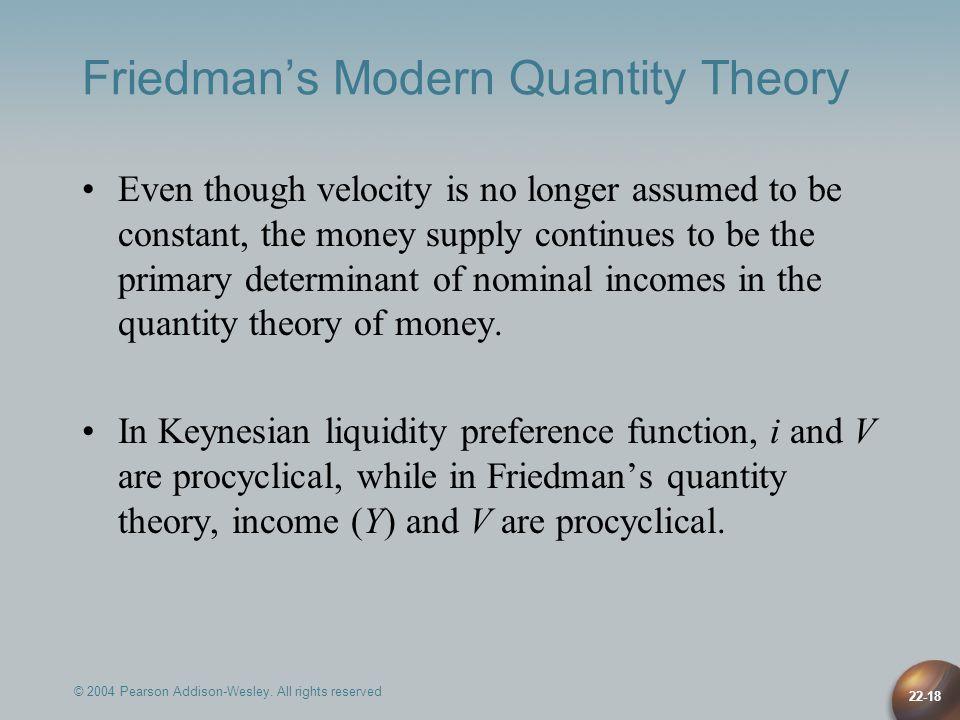 Friedman's Modern Quantity Theory