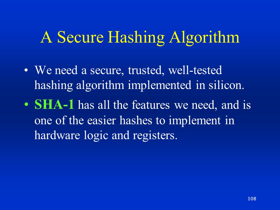 A Secure Hashing Algorithm