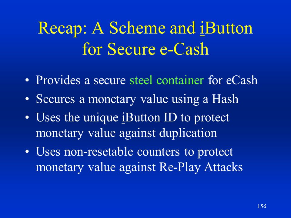 Recap: A Scheme and iButton for Secure e-Cash