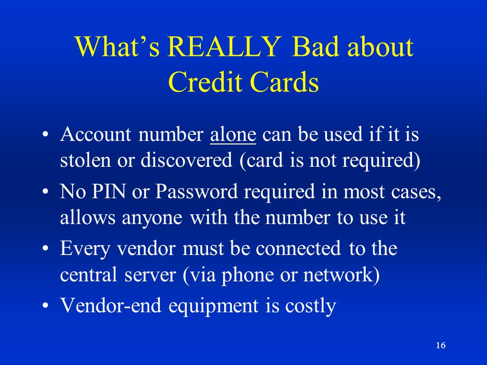 What's REALLY Bad about Credit Cards