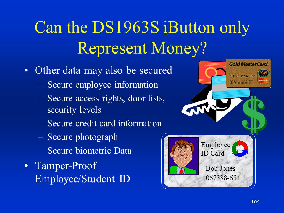 Can the DS1963S iButton only Represent Money
