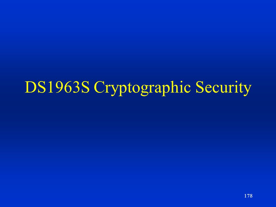DS1963S Cryptographic Security