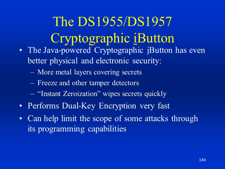The DS1955/DS1957 Cryptographic iButton