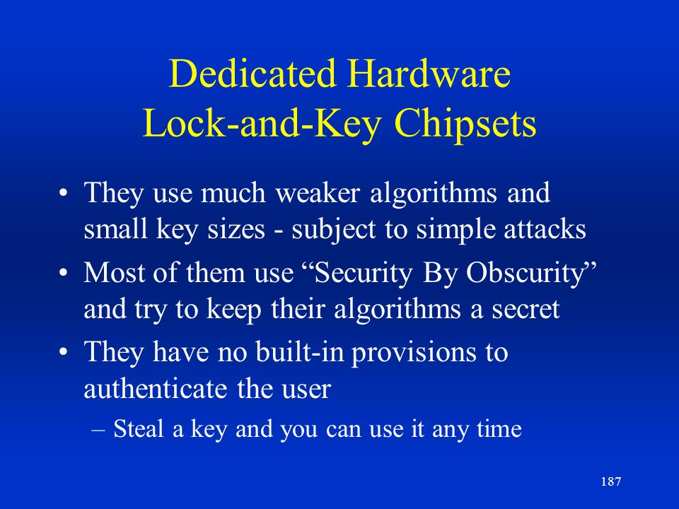 Dedicated Hardware Lock-and-Key Chipsets