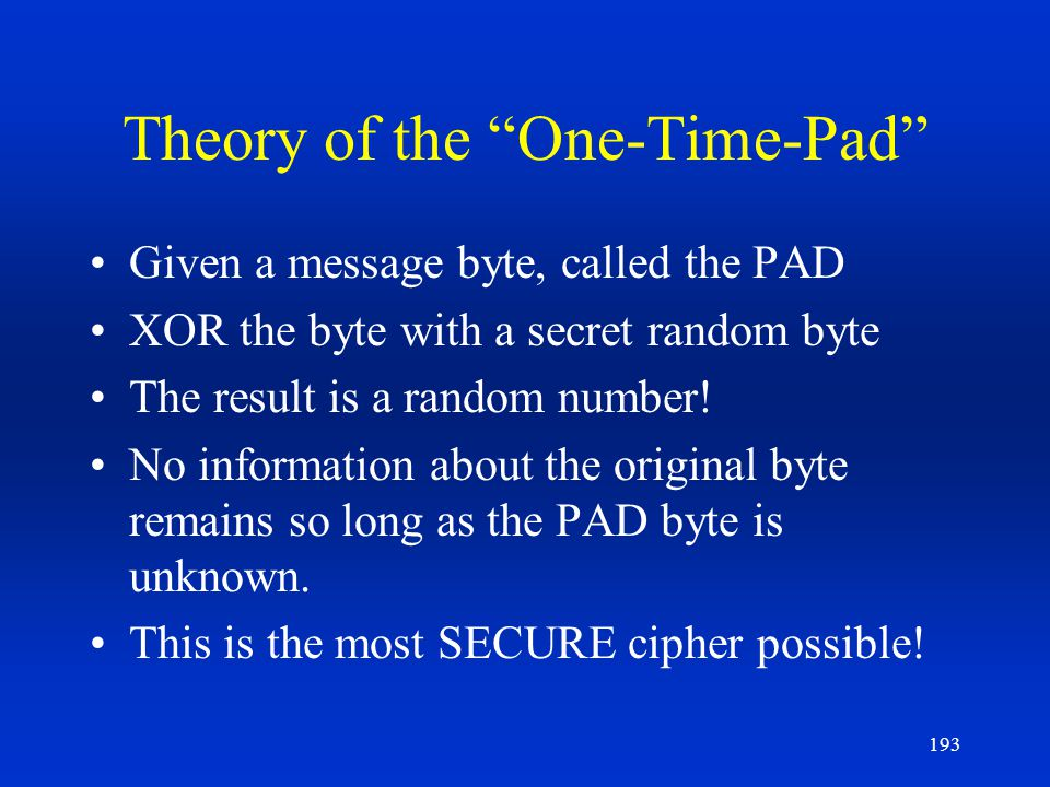 Theory of the One-Time-Pad