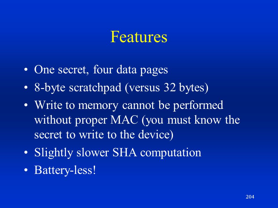 Features One secret, four data pages