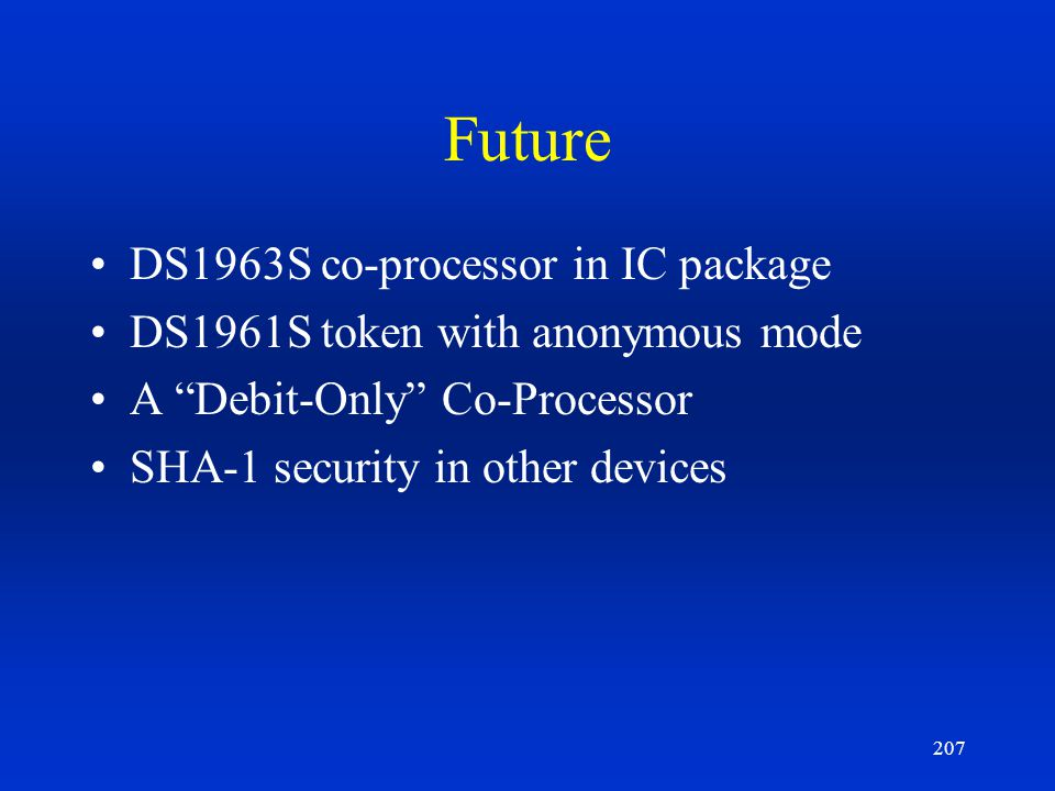 Future DS1963S co-processor in IC package