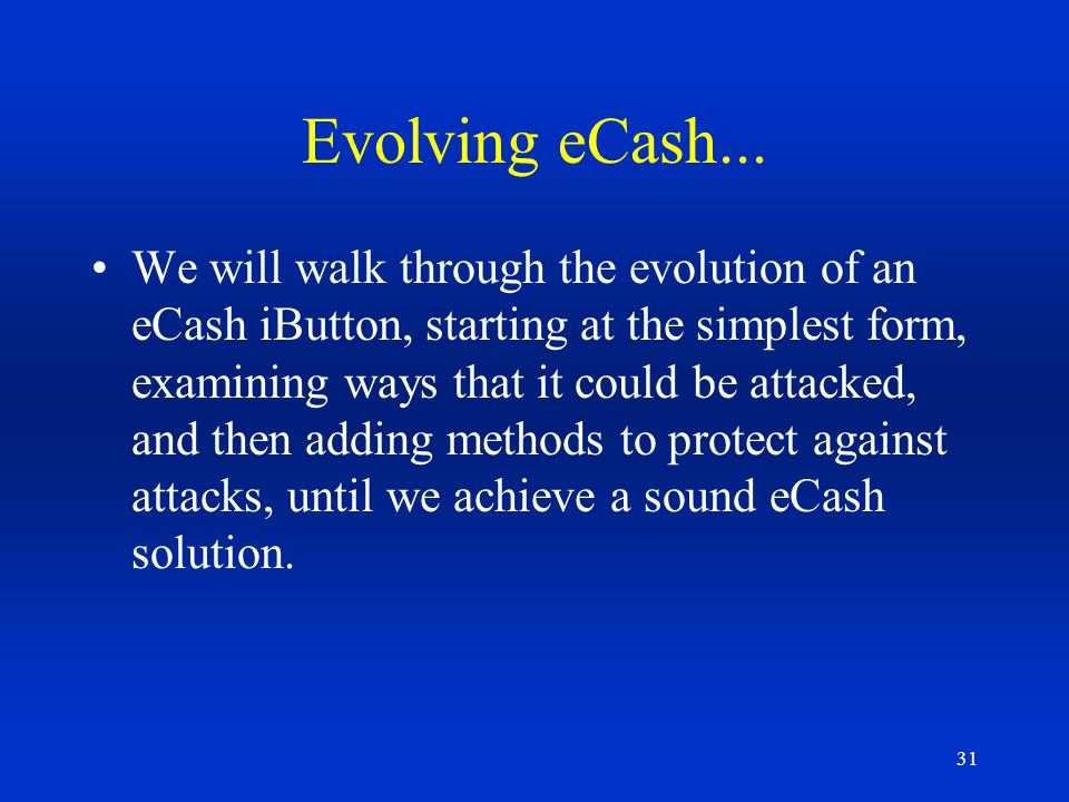 Evolving eCash...