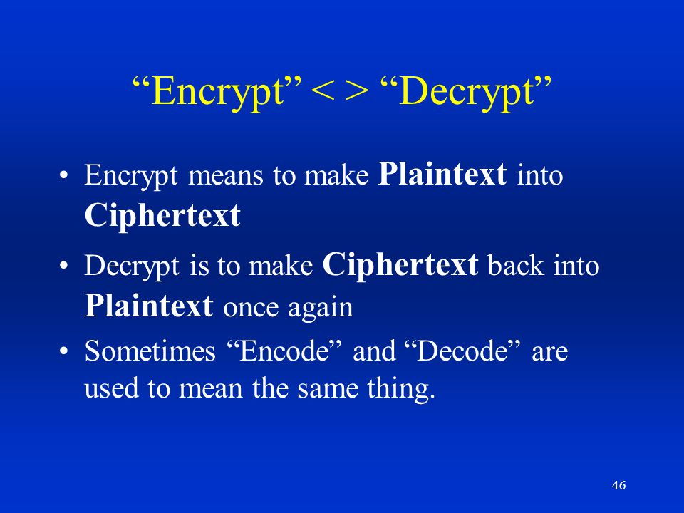 Encrypt < > Decrypt