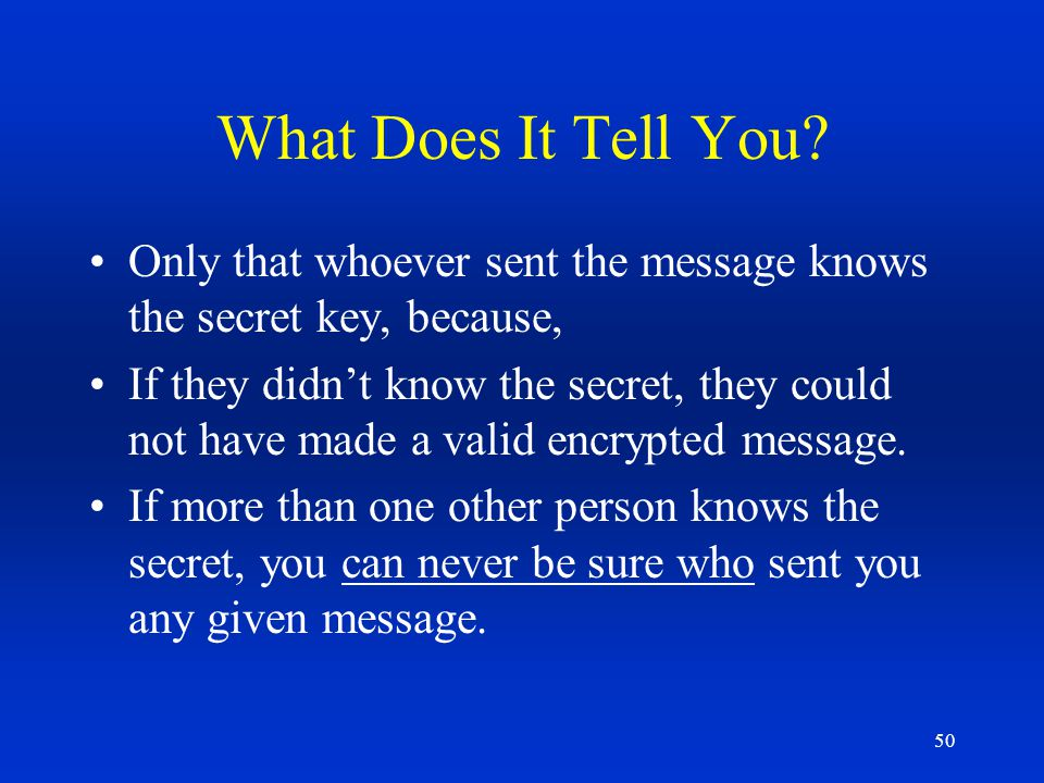 What Does It Tell You Only that whoever sent the message knows the secret key, because,