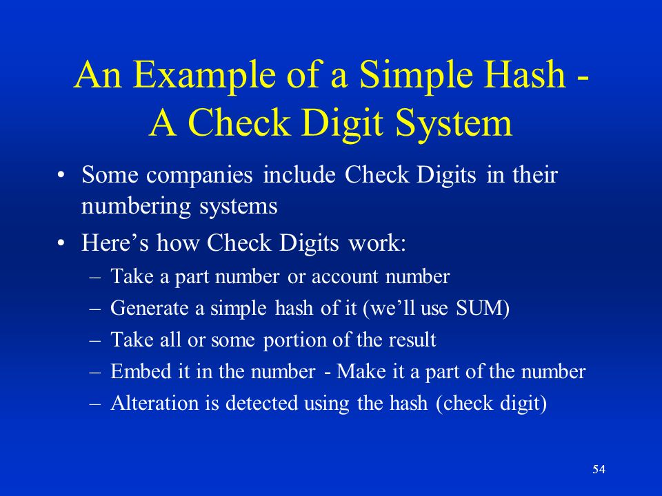 An Example of a Simple Hash - A Check Digit System