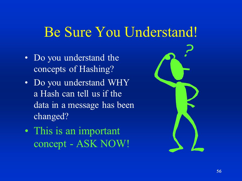 Be Sure You Understand! This is an important concept - ASK NOW!