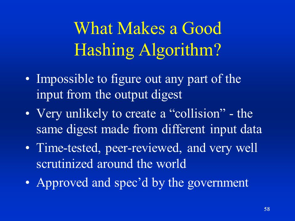 What Makes a Good Hashing Algorithm