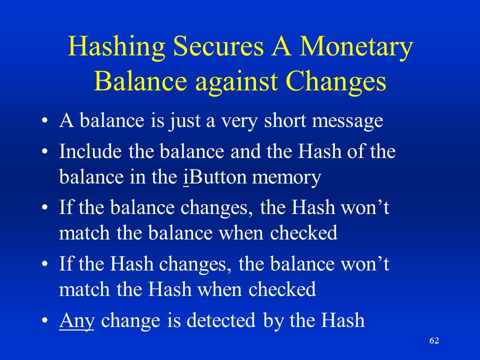 Hashing Secures A Monetary Balance against Changes