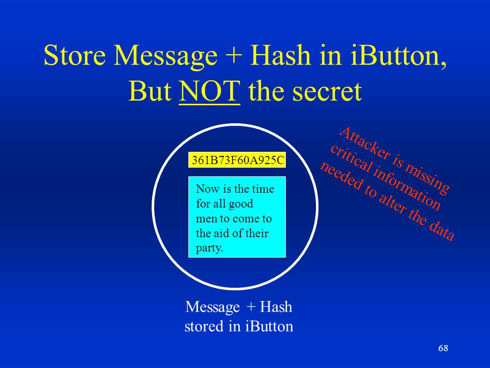 Store Message + Hash in iButton, But NOT the secret
