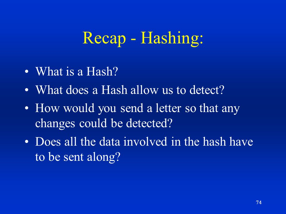 Recap - Hashing: What is a Hash What does a Hash allow us to detect