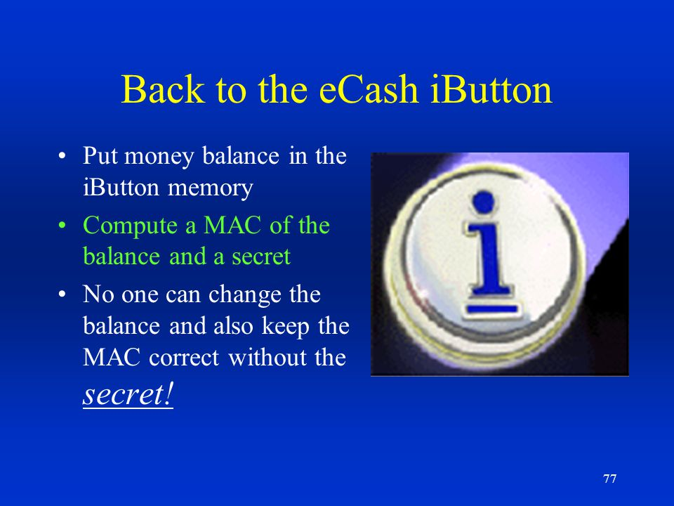 Back to the eCash iButton