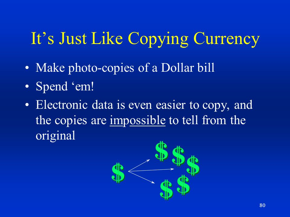 It's Just Like Copying Currency