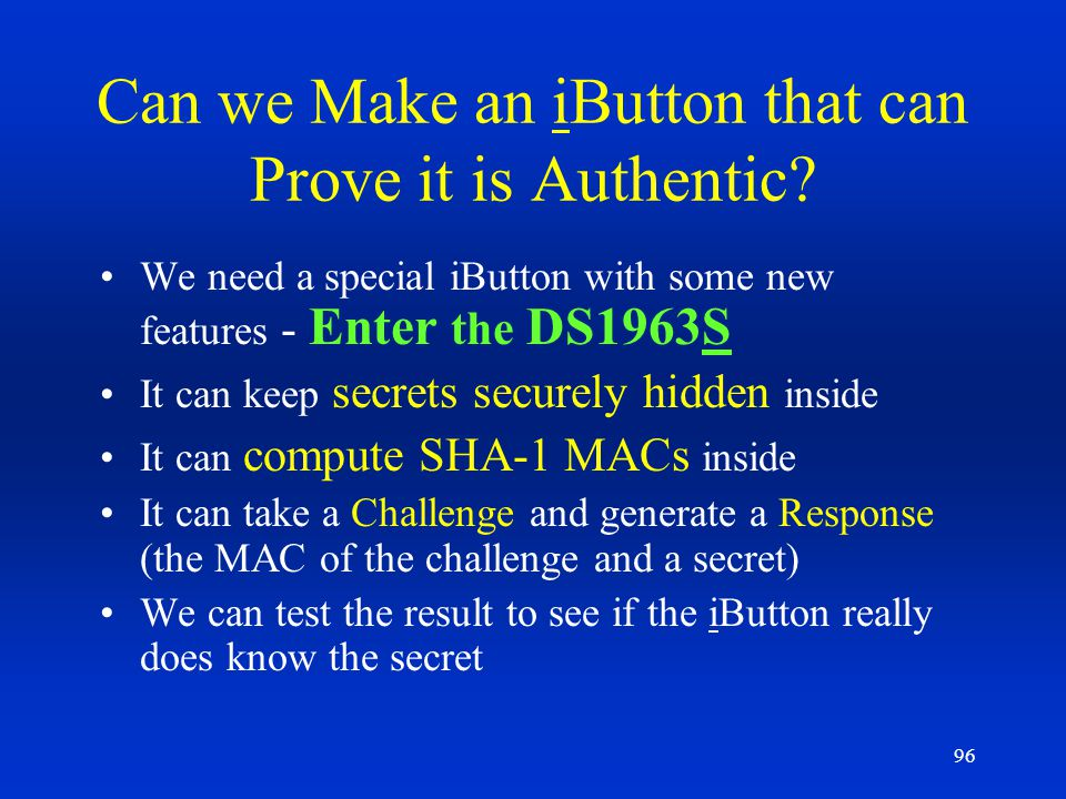 Can we Make an iButton that can Prove it is Authentic