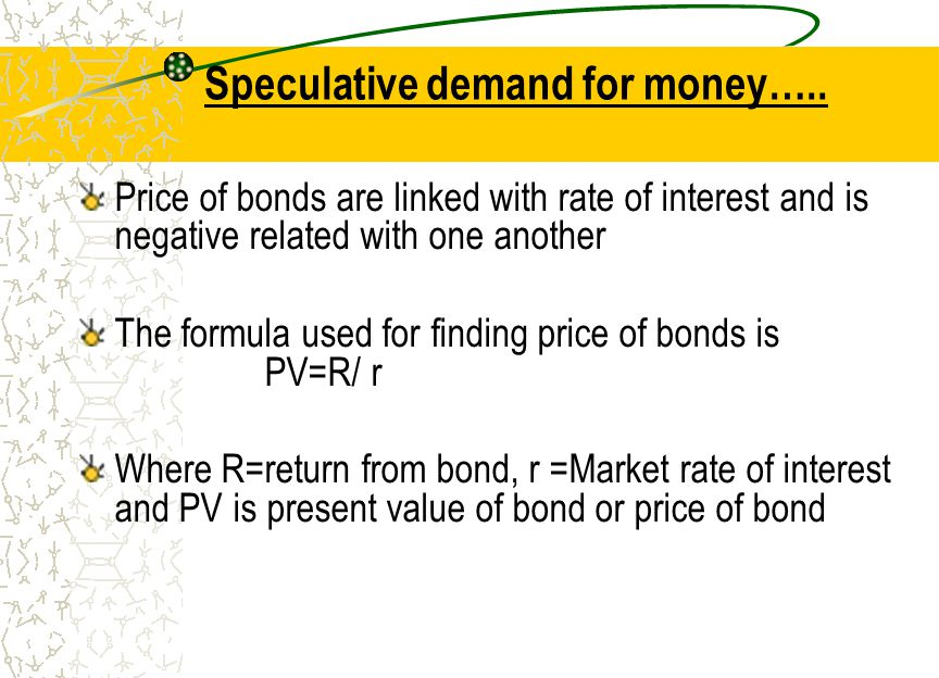 Speculative demand for money…..