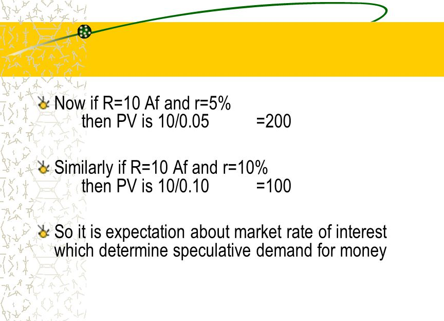 Now if R=10 Af and r=5% then PV is 10/0.05 =200