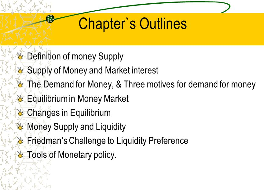 Chapter`s Outlines Definition of money Supply