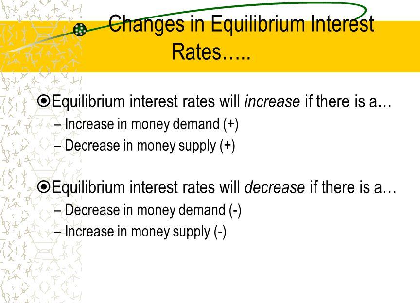 Changes in Equilibrium Interest Rates…..