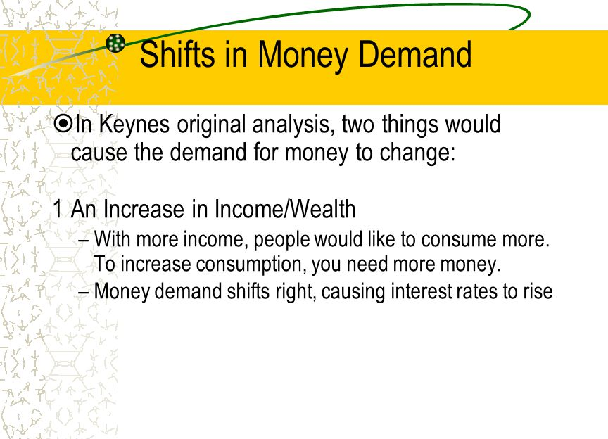 Shifts in Money Demand In Keynes original analysis, two things would cause the demand for money to change: