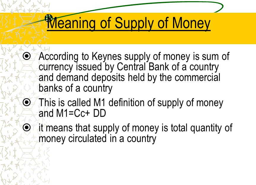 Meaning of Supply of Money