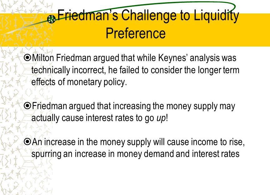 Friedman's Challenge to Liquidity Preference