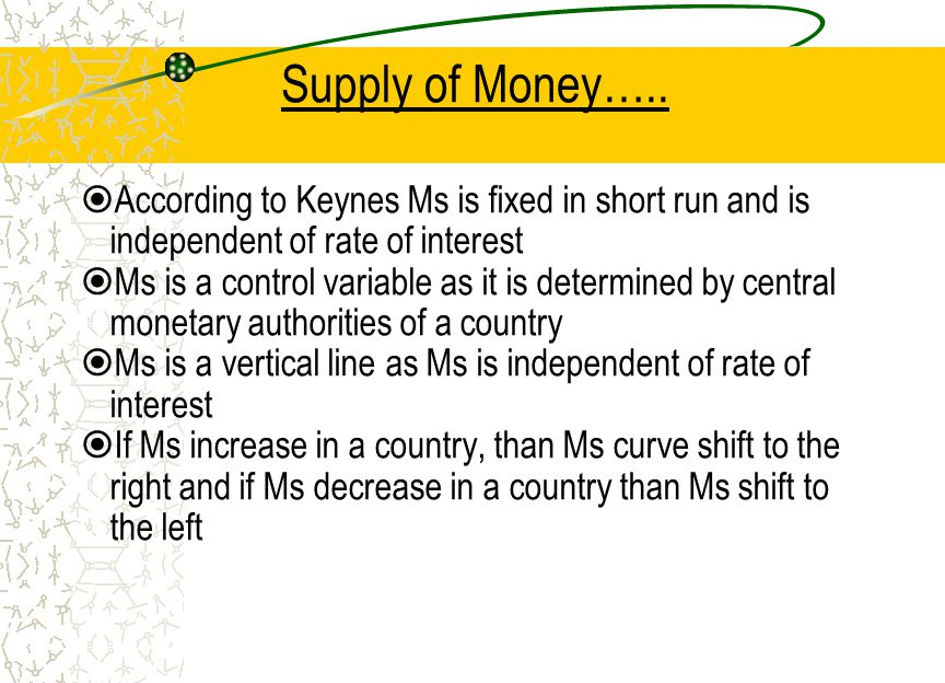 Supply of Money….. According to Keynes Ms is fixed in short run and is independent of rate of interest.