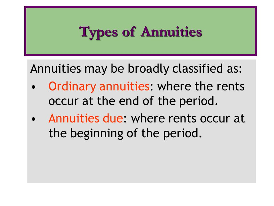 Types of Annuities Annuities may be broadly classified as: